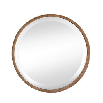 Fir wood And mirror Round Wood Frame Wall Mirror