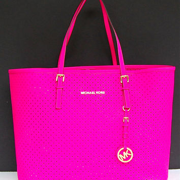 Nwt Michael Kors Perforated Saffiano Jet Set Travel Medium Tote Bag Neon Pink