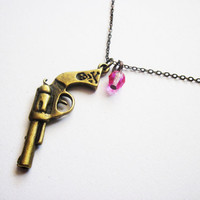 3D Gun Necklace, Weapon Necklace, Pistol Jewelry Necklace, Western Cowgirl Charm Necklace, Simple Jewelry, Whimsical, by RobertaValle