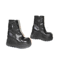 90s wedge platforms early 1990s vintage black leather zip up CYBER goth HEX platform rave boots size 8.5