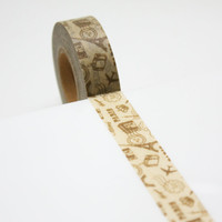 Japan Washi Tape (5 ft. / 150 cm)  - Paris,Brown ,CH-005,Buy 5 Get 2 Free