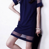 Blue Sheer Mesh Panel Shift Dress