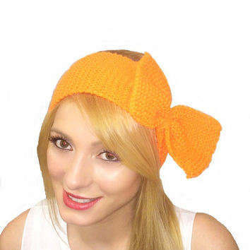 Knitted Bow Headband LARGE Bow Ear Warmer in Orange Knitted Earwarmer,Women's Fashion Accessory Headband
