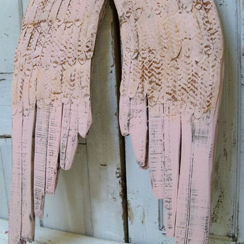 Large shabby chic angel wings wall sculpture rusty barely pink home decor Anita Spero
