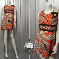 Vintage 60s 70s Psychedelic Print Mini Shift Dress Empire Line Mod Micro Dress A Line Hippie Dress Red and Black Groovy Pattern Sleeveless