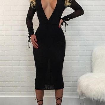 Streetstyle  Casual Black Grenadine Lace-up Deep V-neck Long Sleeve Prom Evening Party Maxi Dress
