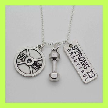 Weight Lifting Fitness Pendant Necklace