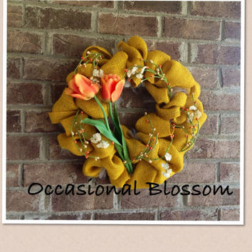 Yellow Burlap and Tulip Spring, Summer Wreath