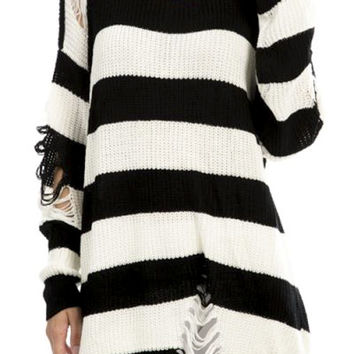 Oversized Black & White Striped Distressed Pullover Punk Knit Sweater