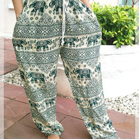 Green Elephant Yoga Pants Baggy Boho Printed Hippie Gypsy Tribal Aladdin Clothing Beach Casual Tank Trousers Dress Wild Legs Unisex Hobo