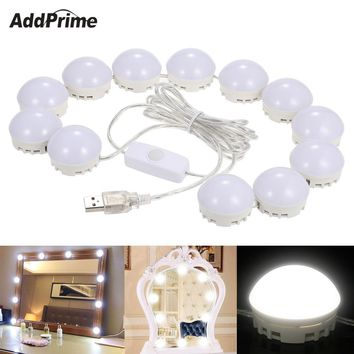 Hollywood Style LED Vanity Mirror Light Bulb Kit For Dressing Table Dimmable Bathroom Makeup Table Mirror Lights USB Charging