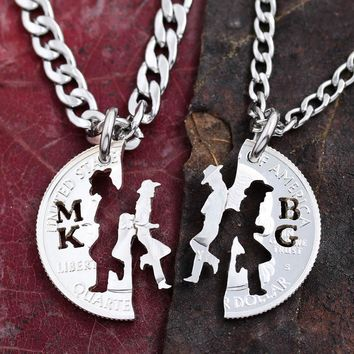 Cowgirl Jewerly, His and hers Cowboy necklaces with initials