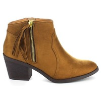 SODA ROWLEY-S Women's Beautiful Tassel Side Zip Chunky Heel Western Ankle Bootie, Color:TAN, Size:11