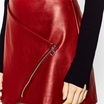 CROSSOVER SKIRT WITH ZIP DETAILS