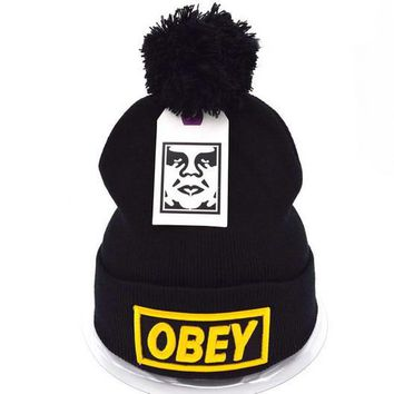 Obey Women Men Embroidery Beanies Knit Wool Hat Cap-1