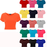 New Ladies Short Sleeve Crop Top Womes Plain Basic Bra Vest T Shirt Sizes 8-14