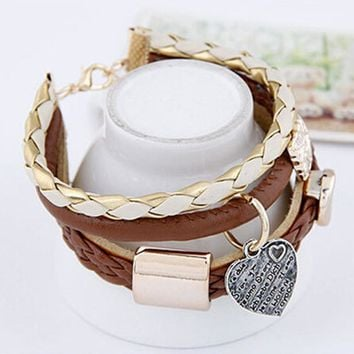 Leather Double Infinity Multilayer Charm Bracelet