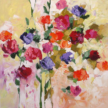 SALE Original Floral Painting Abstract or Impressionist Art Landscape Roses Red Pink Acrylic Painting on Canvas by Linda Monfort