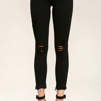 Young Forever Distressed Black Skinny Jeans