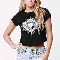 LA Hearts Diamond Henna Cropped Short Sleeve T-Shirt - Womens Tee - Black