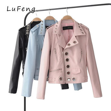 Pink Blue Black Leather Jacket Women Fashion Metal Rivets Hollow Out Long Sleeve Biker Pu Coat 2017 Veste Cuir Femme LF32-48