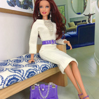Barbie Doll Dress - Vanilla Cream Dress with Lavender Purse, Belt, Shoes, and Silver-toned Jewelry