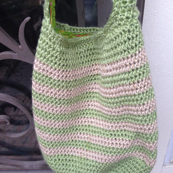 Handmade crocheted hobo bag in green & beige, tote bag, vacation bag, fully lined handbag, large handbag, womens fashion bag, ready to ship