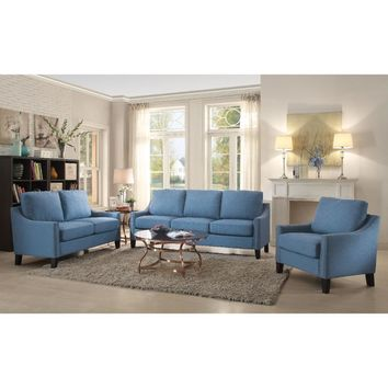 Wooden Frame Sofa In Blue Linen