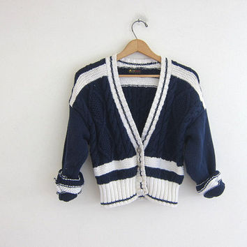 20% OFF SALE vintage cable knit cardigan sweater. cropped navy blue preppy button down sweater. stripe sweater.
