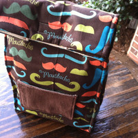 Mustache Lunch Bag - NonPaper Lunch Sack - Back To School Lunch Bag - Eco Friendly Moustache Lunch Bag
