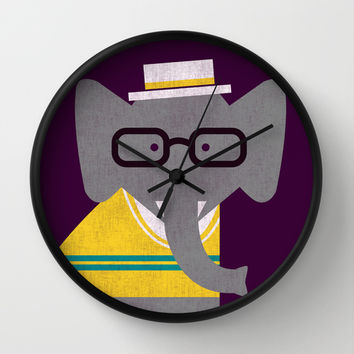 Rodney the preppy elephant Wall Clock by Budi Satria Kwan
