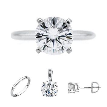 FAB Round Moissanite 4 Prong Ring Complete Platinum Solitaire Wedding Set