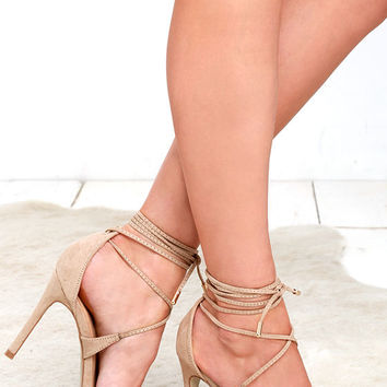All the Applause Natural Suede Lace-Up Heels
