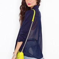 Chiffon Back Blazer - Navy in  Clothes at Nasty Gal
