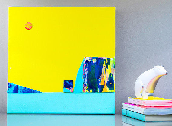 Yellow kids art landscape abstract from fybur things i for Neon yellow wall paint