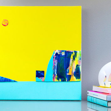 Yellow Kids Art, Landscape Abstract Acrylic collage Original Canvas Painting, Wall Hanging, Nursery Painting pop art, neon Home decor
