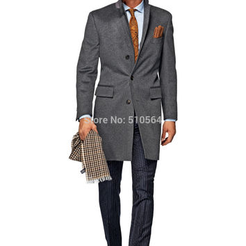 Free shipping custom made men grey wool cashmere coat Slim fit casual longer jacket
