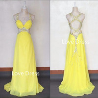 Attractive Sexy Straps Hollow-out Sweep Train Prom Dress