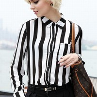 Vintage Black & White Stripe Blouse