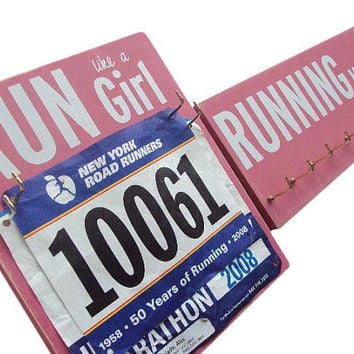 pink Running Medals and Running Bibs holder: running gift