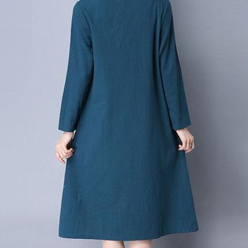 Casual Round Neck Patch Pocket Printed Cotton/Linen Shift Dress