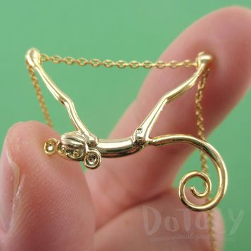 3D Monkey Chimpanzee with a Curly Tail Dangling Pendant Necklace in Gold