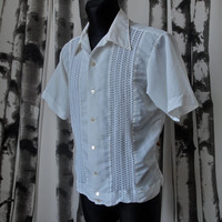 Vintage Genuina Yucateca Mexican White Summer Shirt Size 42 Large