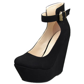 Womens Platform Shoes Ankle Strap Buckle Accent Dress Wedges Black SZ