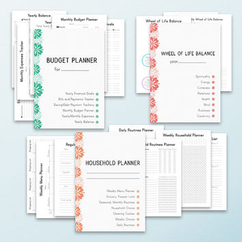 LIFE PLANNER  Letter Size Printable Home Management Inserts Daily Weekly Monthly Project Menu Budget. Instant Download. 63 pages