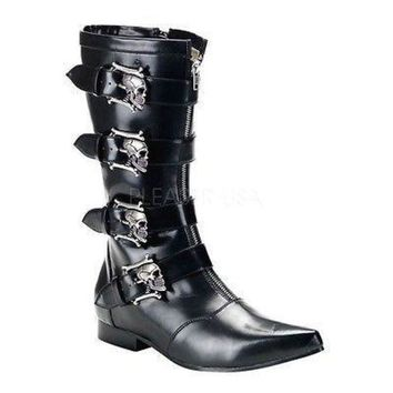 Brogue 107 Mens Black Pointy Toe Skull Buckle Dress Boot Goth 8-13 - Beauty Ticks