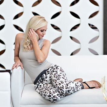 Lounging Leopard Joggers : White/Leopard