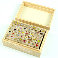 40pcs/set Happy Life Diary Girl Cute Cartoon Mounted Rubber Stamp Wooden Box New
