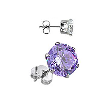 Spikes Stainless Steel Tanzanite Round CZ Stud Earrings