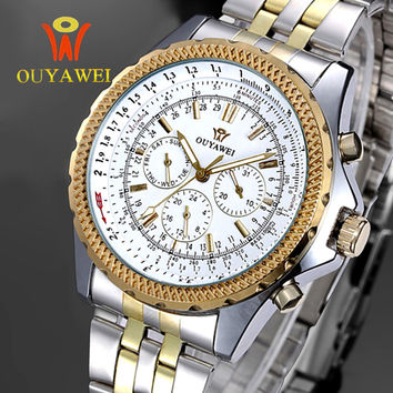 OUYAWEI Men Skeleton Mechanical Watch Stainess Steel Gold Dress Watches Day Date Watch Men Wristwatches Steampunk Montre Homme